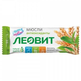 Леовит Батончик-мюсли с фенхелем и зеленым чаем, 30 г (Леовит, )