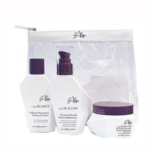 Купить L'Alga Дорожный набор «Глубокое восстановление волос» в прозрачной косметичке, 100 мл+100 мл+100 мл (L'Alga, )