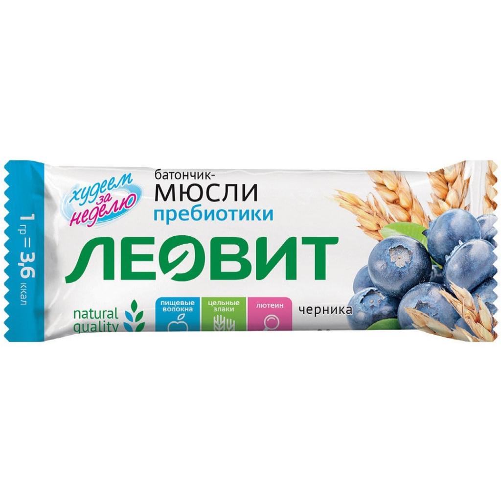 Леовит Батончик-мюсли с черникой и лютеином, 30 г (Леовит, )