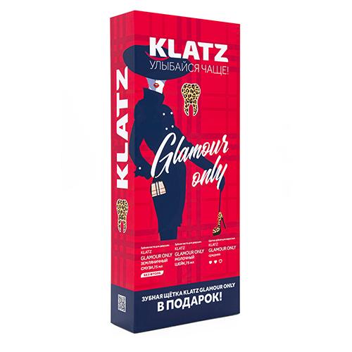 Купить Klatz Набор для девушек: Зубная паста Земляничный смузи, 75 мл + Зубная паста Молочный шейк, 75 мл + Зубная щетка средняя (Klatz, Glamour Only)