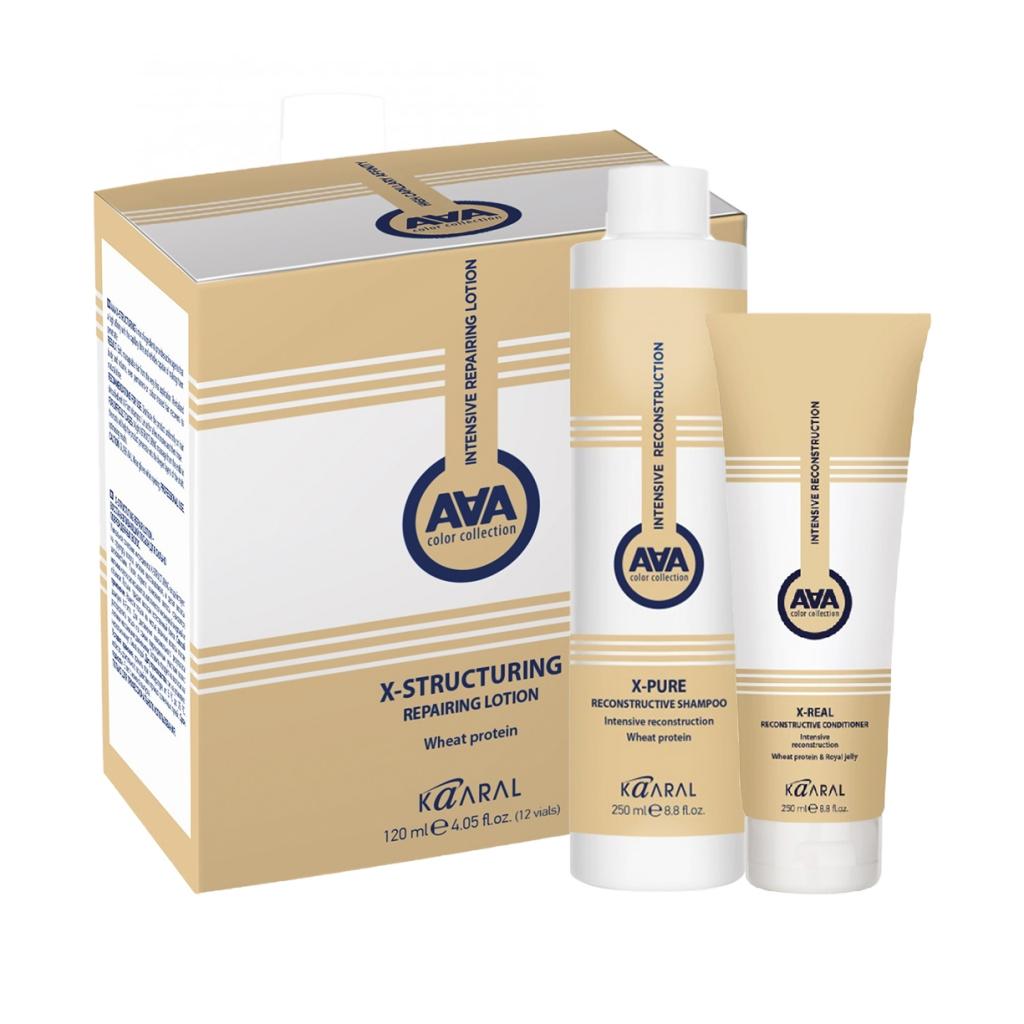 Купить Kaaral Набор X-Form для глубокого восстановления волос (Шампунь, 250 мл + Кондиционер, 250 мл + Лосьон, 120 мл), 1 шт. (Kaaral, X-Form)