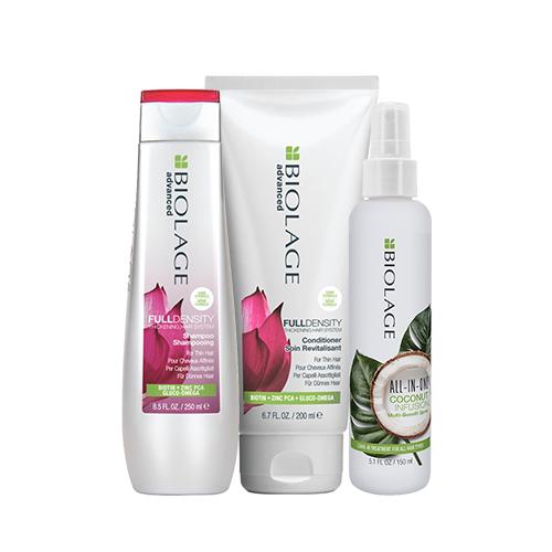 Купить Matrix Набор для укрепления тонких волос FullDensity (Шампунь, 250 мл + Кондиционер, 200 мл + Кокосовый флюид, 150 мл) (Matrix, Biolage)