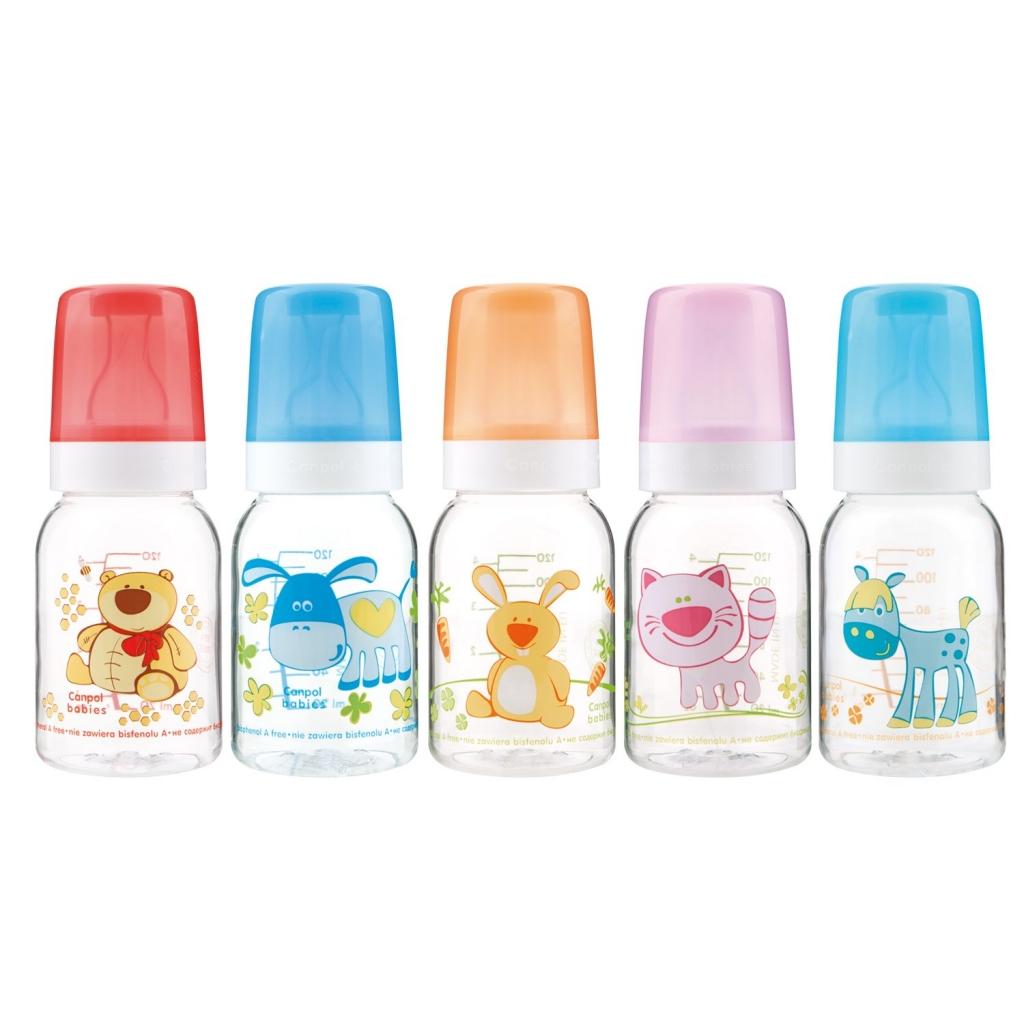 Купить Canpol Бутылочка тритановая (BPA 0%) с силиконовой соской, от 3 месяцев, 1 шт. (Canpol, Cheerful Animals)