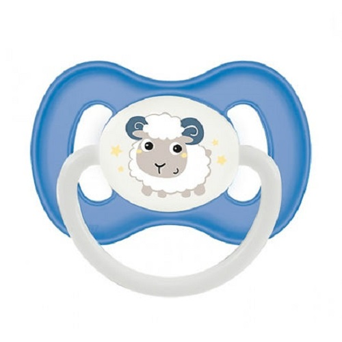 Купить Canpol Пустышка симметричная силиконовая, от 0 до 6 месяцев, голубой, 1 шт. (Canpol, Bunny & Company)