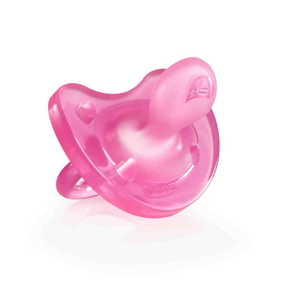 Купить Chicco Пустышка силиконовая от 0 до 6 месяцев розовая, 1 шт. (Chicco, Physio Soft)
