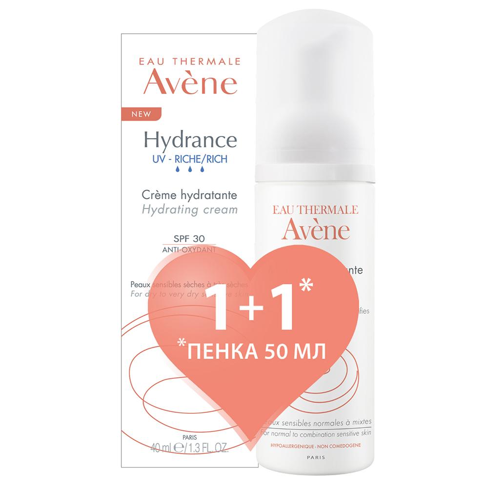 Купить Avene Набор Гидранс UV Риш (Насыщенный крем Гидранс Риш SPF 30, 40 мл + Очищающая пенка, 50 мл) (Avene, Hydrance)