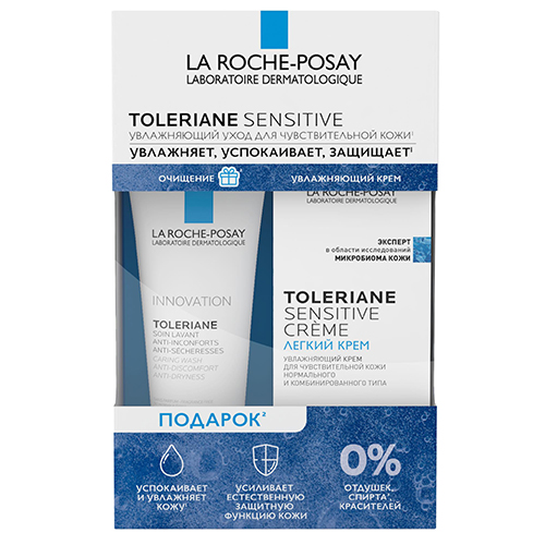 La Roche-Posay Набор Toleriane (Легкий крем Sensitive, 40 мл + Очищающий гель-уход, 50 мл) (La Roche-Posay, Toleriane)