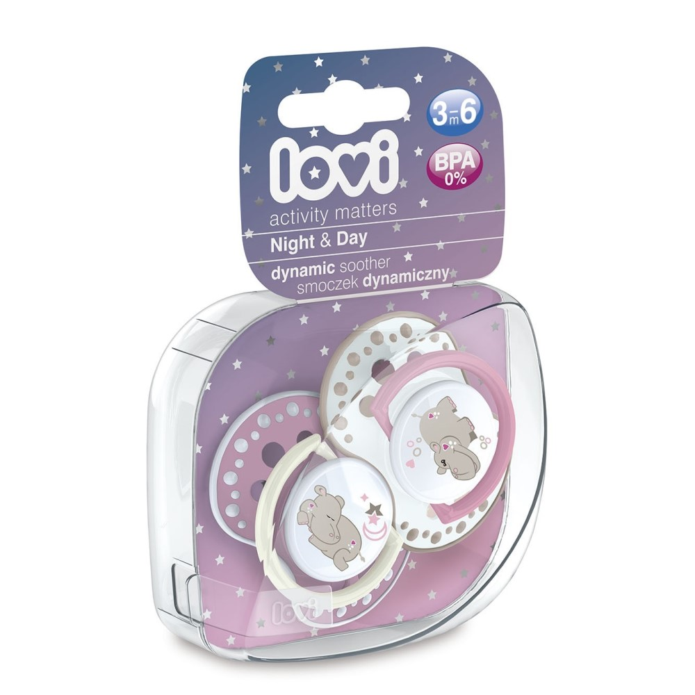 Купить Lovi Пустышка динамическая силиконовая Night & Day , для девочки 3-6 мес, 2 шт. (Lovi, Пустышки)