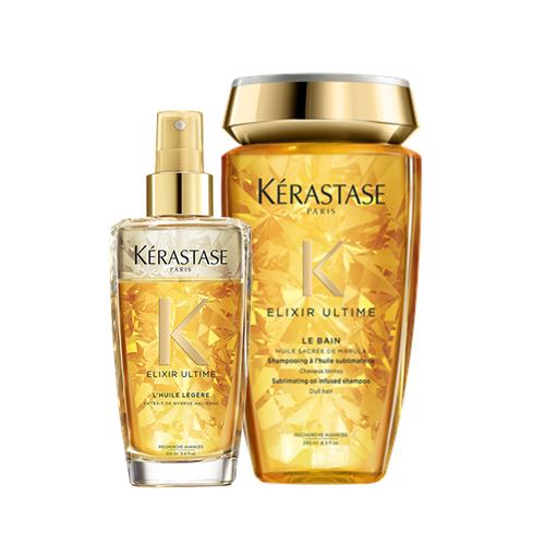 Купить Kerastase Набор для роскошного блеска волос Elixir Ultime (Шампунь-ванна, 250 мл + Масло-спрей, 100 мл) (Kerastase, Elixir Ultime)