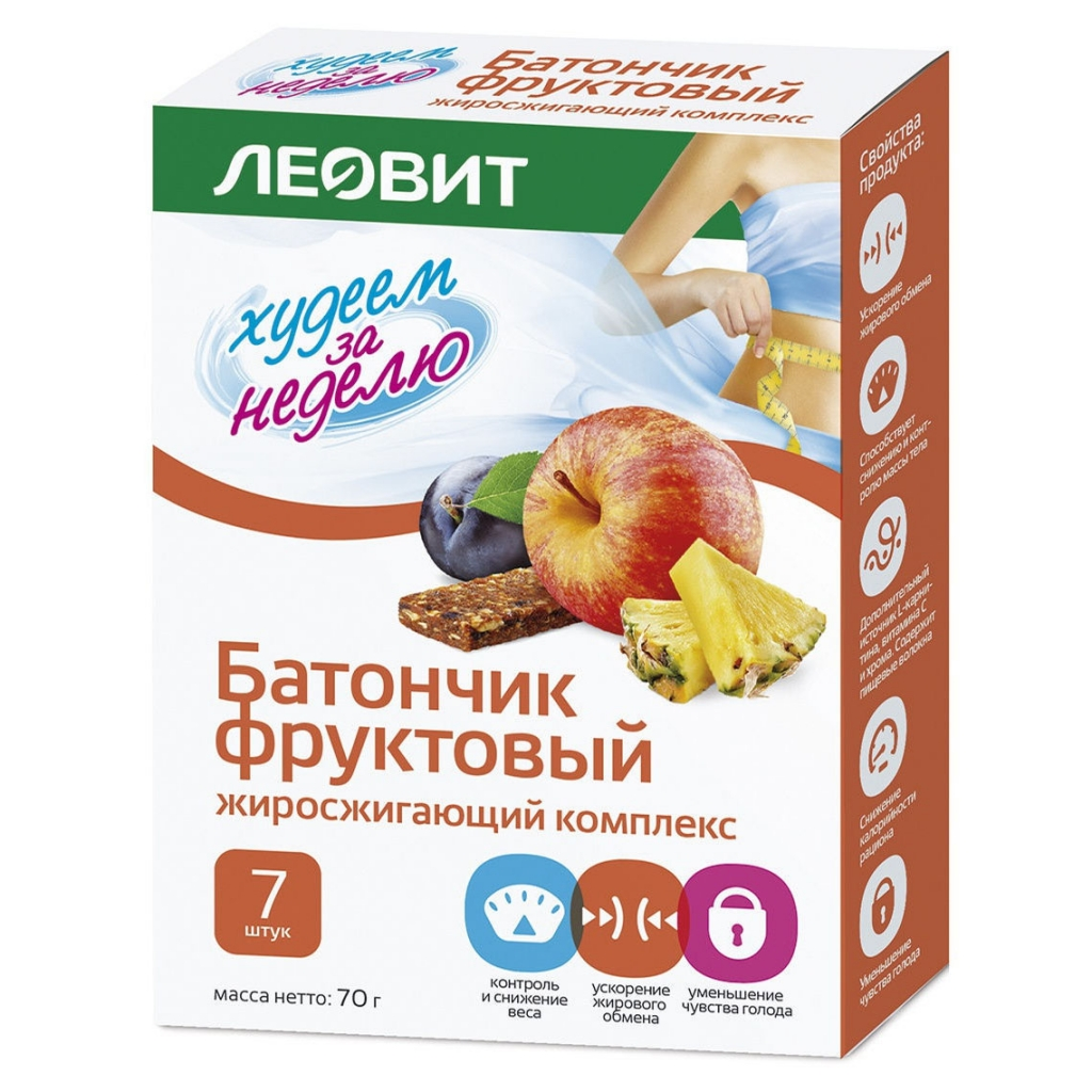 Купить ЛЕОВИТ Батончик фруктовый Жиросжигающий комплекс , 7 шт*10 г (ЛЕОВИТ, )