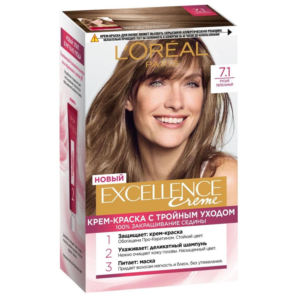 Купить L'Oreal Paris Стойкая крем-краска для волос, 1 шт. - 7.1 Русый пепельный (L'Oreal Paris, Окрашивание)