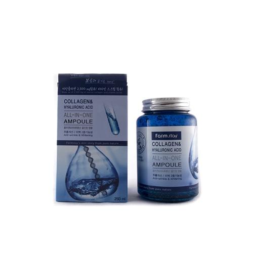 Купить Farmstay Многофункциональная ампульная сыворотка с гиалуроновой кислотой и коллагеном, 250 мл (Farmstay)