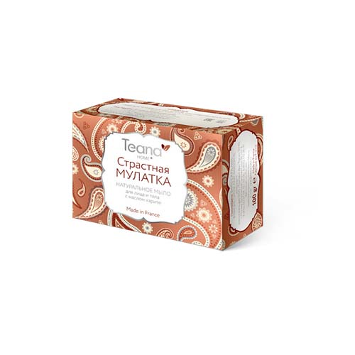Купить Teana Страстная Мулатка Натуральное мыло для сухой кожи лица и тела с маслом карите 100 гр (Teana, Натуральное мыло ручной работы)