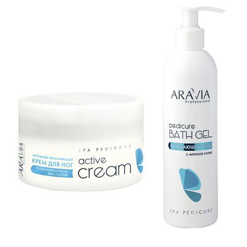 Купить Aravia professional Набор: Очищающий гель с морской солью Pedicure Bath Gel , 300 мл + Активный увлажняющий крем с гиалуроновой кислотой Active Cream , 150 мл (Aravia professional, Aravia Professional)