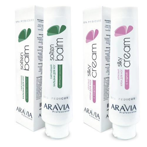 Купить Aravia Professional Набор: Смягчающий бальзам для ног с эфирными маслами Soft Balm , 100 мл + Шёлковый крем для ног с пудрой Silky Cream , 100 мл (Aravia Professional)