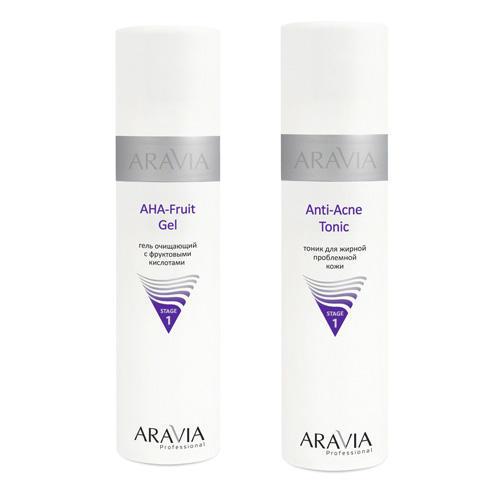 Купить Aravia professional Набор: Гель очищающий с фруктовыми кислотами AHA - Fruit Gel, 250 мл +Тоник для жирной проблемной кожи Anti-Acne Tonic, 250 мл (Aravia professional, Aravia Professional)