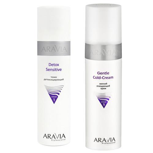 Aravia professional Набор: Мягкий очищающий крем Gentle Cold-Cream, 250 мл + Тоник детоксицирующий Detox Sensitive, 250 мл (Aravia professional, Aravia Professional) недорого