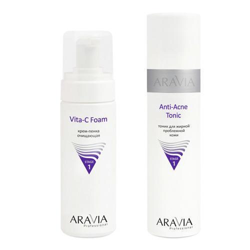 Aravia professional Набор: Тоник для жирной проблемной кожи Anti-Acne Tonic, 250 мл + Крем-пенка очищающая Vita-C Foaming, 160 мл (Aravia professional, Aravia Professional) недорого