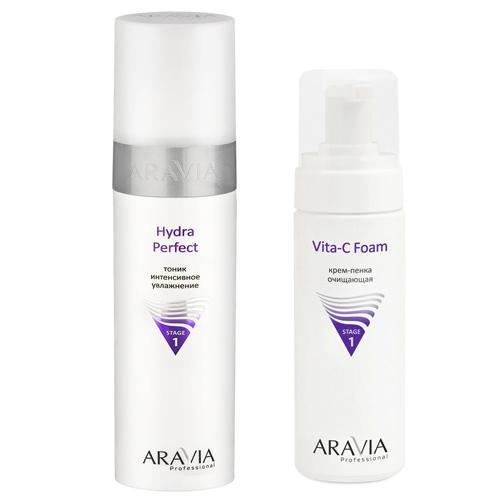 Aravia professional Набор: Тоник интенсивное увлажнение Hydra Perfect, 250 мл + Крем-пенка очищающая Vita-C Foaming, 160 мл (Aravia professional, Aravia Professional) недорого