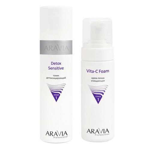 Aravia professional Набор: Тоник детоксицирующий Detox Sensitive, 250 мл + Крем-пенка очищающая Vita-C Foaming, 160 мл (Aravia professional, Aravia Professional) недорого