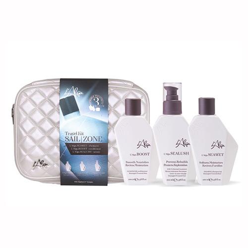Купить L'Alga Дорожный набор «Термозащита волос со спреем» в белой стеганой косметичке, 100 мл+100 мл+100 мл (L'Alga, )