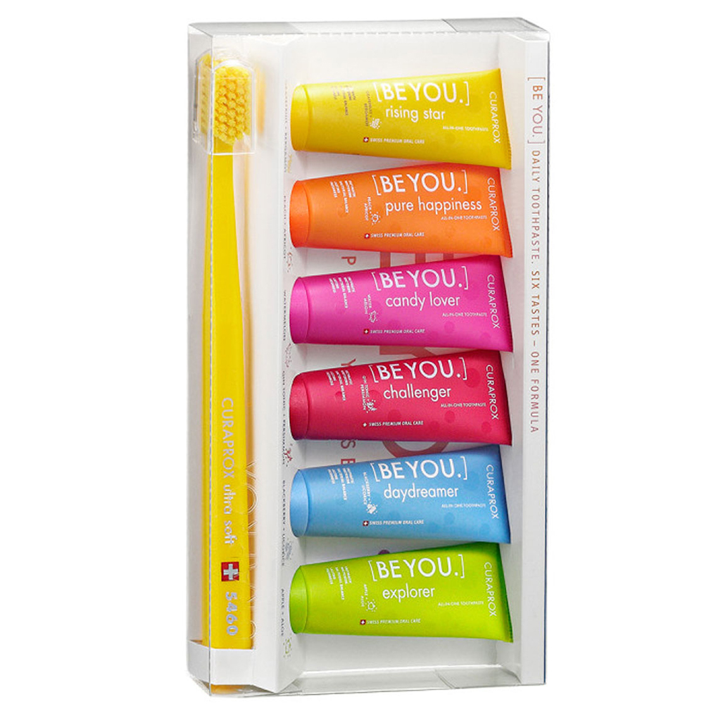 Купить Curaprox Набор зубных паст Mix Set Шесть вкусов : Зубная паста 10 мл*6 шт + Ультрамягкая зубная щетка CS5460 (Curaprox, Be You)