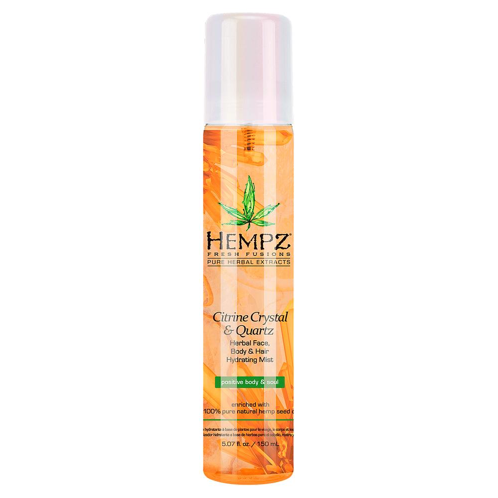 Купить Hempz Спрей увлажняющий для лица, тела и волос с мерцающим эффектом Желтый Кварц Citrine Crystal & Quartz Herbal Face, Body & Hair Hydrating Mist, 250 мл (Hempz, Желтый кварц)