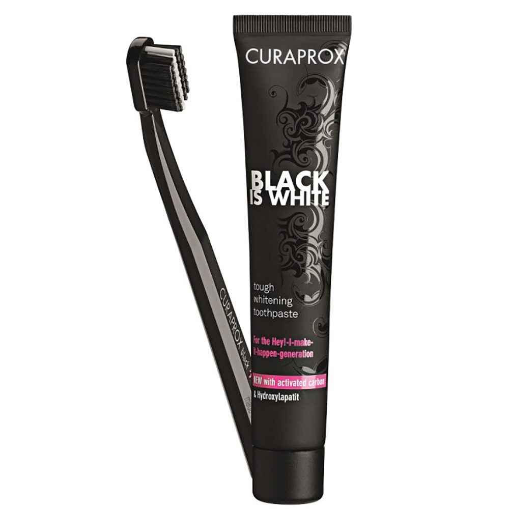 Купить Curaprox Набор Отбеливающая зубная паста Black Is White со вкусом лайма, 90 мл + Зубная щетка Ultra Soft 5460 черная (Curaprox, Black Is White)