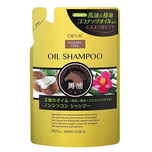 Купить Kumano Cosmetics Шампунь для сухих волос с 3 видами масел (лошадиное, кокосовое и масло камелии) Deve Infused With Horse Oil Shampoo сменный блок, 400 мл (Kumano Cosmetics, Шампуни для волос)