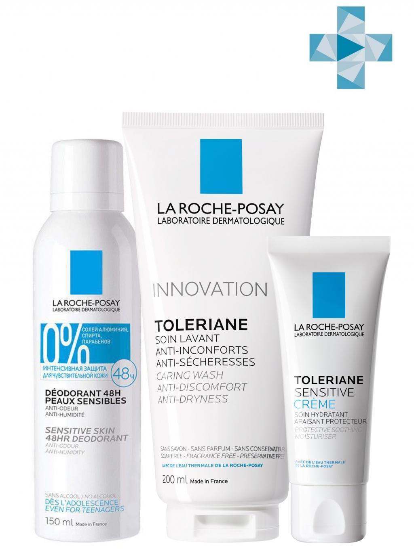 Купить La Roche-Posay Набор для ежедневного применения (Легкий крем Sensitive, 40 мл + Очищающий гель для умывания, 200 мл + Дезодорант-спрей 48 ч, 150 мл) (La Roche-Posay, Toleriane)
