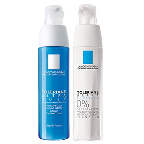 Купить La Roche-Posay Набор для чувствительной кожи (Флюид Ultra, 40 мл + Ночной успокаивающий уход Ultra, 40 мл) (La Roche-Posay, Toleriane)