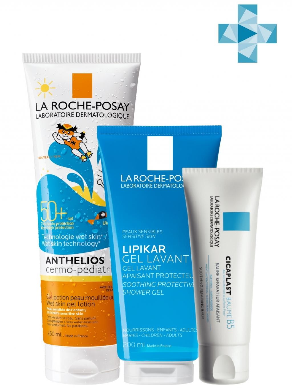 Купить La Roche-Posay Набор продуктов для детей (Очищающий гель для душа Lipilar, 200 мл + Гель для детей Ветскин SPF 50+, 250 мл + Мультивосстанавливающее средство Cicapla (La Roche-Posay, Cicaplast)