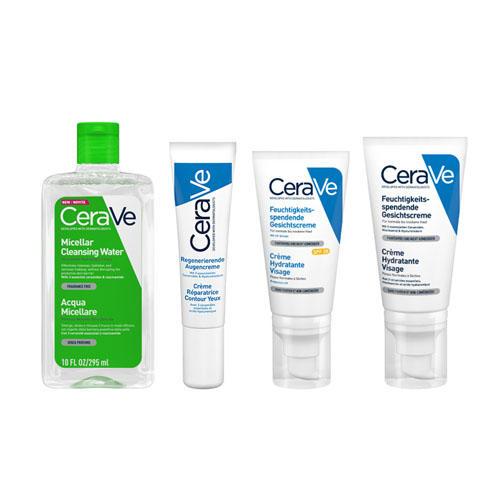 CeraVe Набор Универсальный для лица (Увлажняющая мицеллярная вода, 295 мл + Увлажняющий лосьон, 52 мл + Увлажняющий лосьон SPF25, 52 мл + Увлажняющий крем дл (CeraVe, Увлажнение кожи)  - Купить
