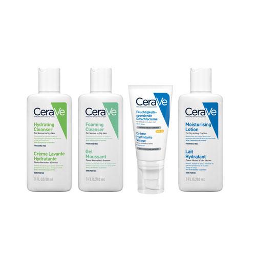 CeraVe Набор Для путешествия (Очищающий гель для нормальной и жирной кожи, 88 мл + Очищающий крем-гель, 88 мл + Увлажняющий лосьон для сухой и очень сухой ко (CeraVe, Увлажнение кожи)  - Купить
