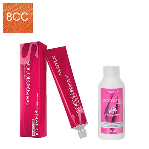 Купить Matrix Набор для окрашивания Перманентный краситель Socolor beauty 8CC, 90 мл + Оксидант 6%, 60 мл (Matrix, Окрашивание)