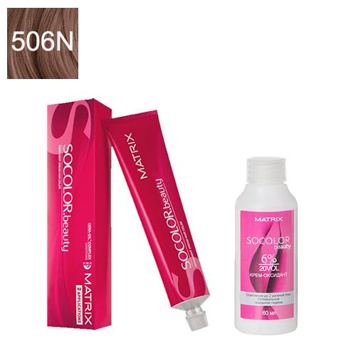 Купить Matrix Набор для окрашивания Перманентный краситель Socolor beauty 506N, 90 мл + Оксидант 6%, 60 мл (Matrix, Окрашивание)