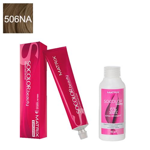 Купить Matrix Набор для окрашивания Перманентный краситель Socolor beauty 506NA, 90 мл + Оксидант 6%, 60 мл (Matrix, Окрашивание)