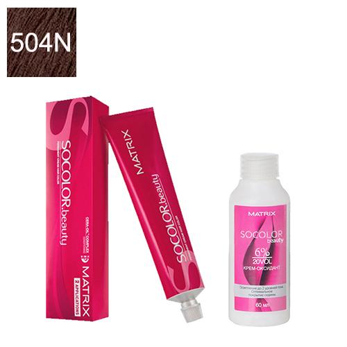Купить Matrix Набор для окрашивания Перманентный краситель Socolor beauty 504N, 90 мл + Оксидант 6%, 60 мл (Matrix, Окрашивание)