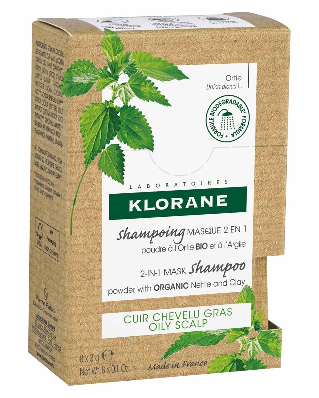 Купить Klorane Порошковый шампунь-маска 2в1 с экстрактом крапивы и глины, 8 саше х 3 г (Klorane, Oily Prone Hair)