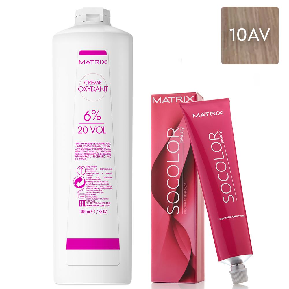 Купить Matrix Набор Перманентный краситель Socolor beauty 10AV, 90 мл + Крем-оксидант 6% (20 Vol.), 1000 мл (Matrix, Окрашивание)