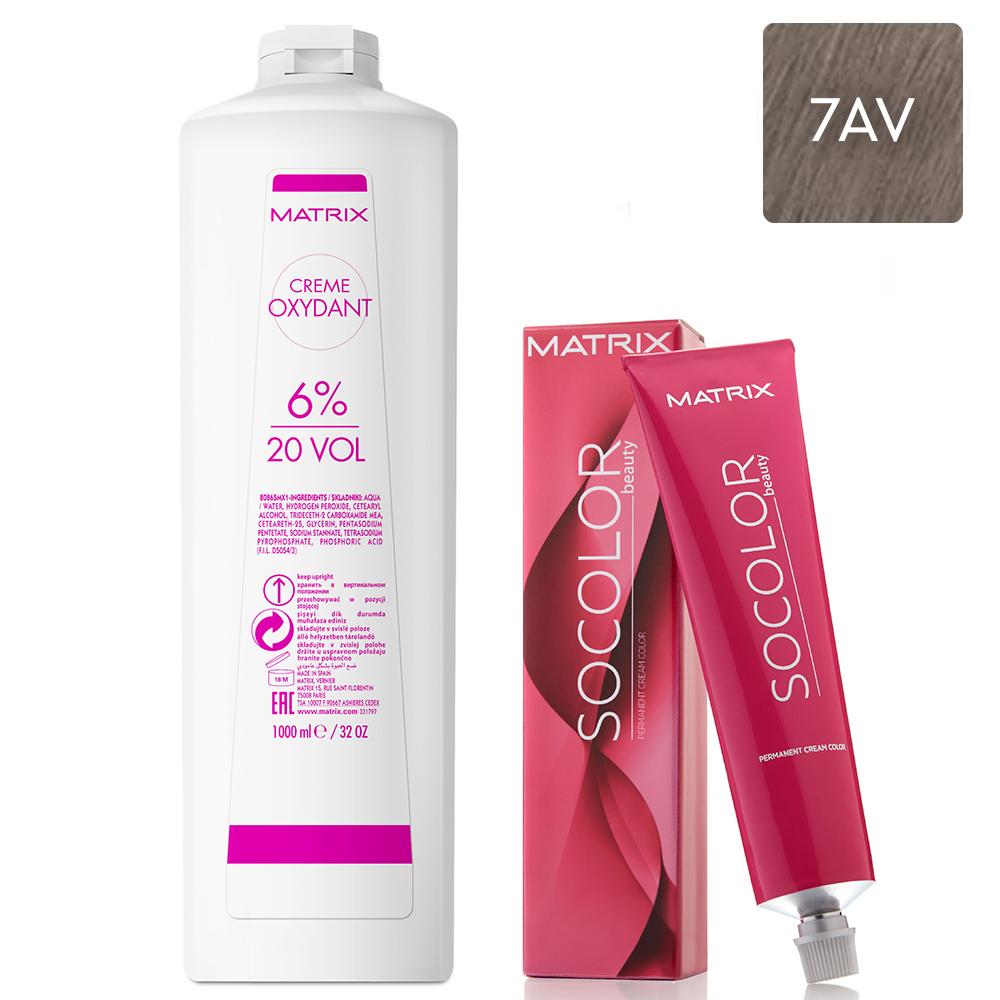 Купить Matrix Набор Перманентный краситель Socolor beauty 7AV, 90 мл + Крем-оксидант 6% (20 Vol.), 1000 мл (Matrix, Окрашивание)