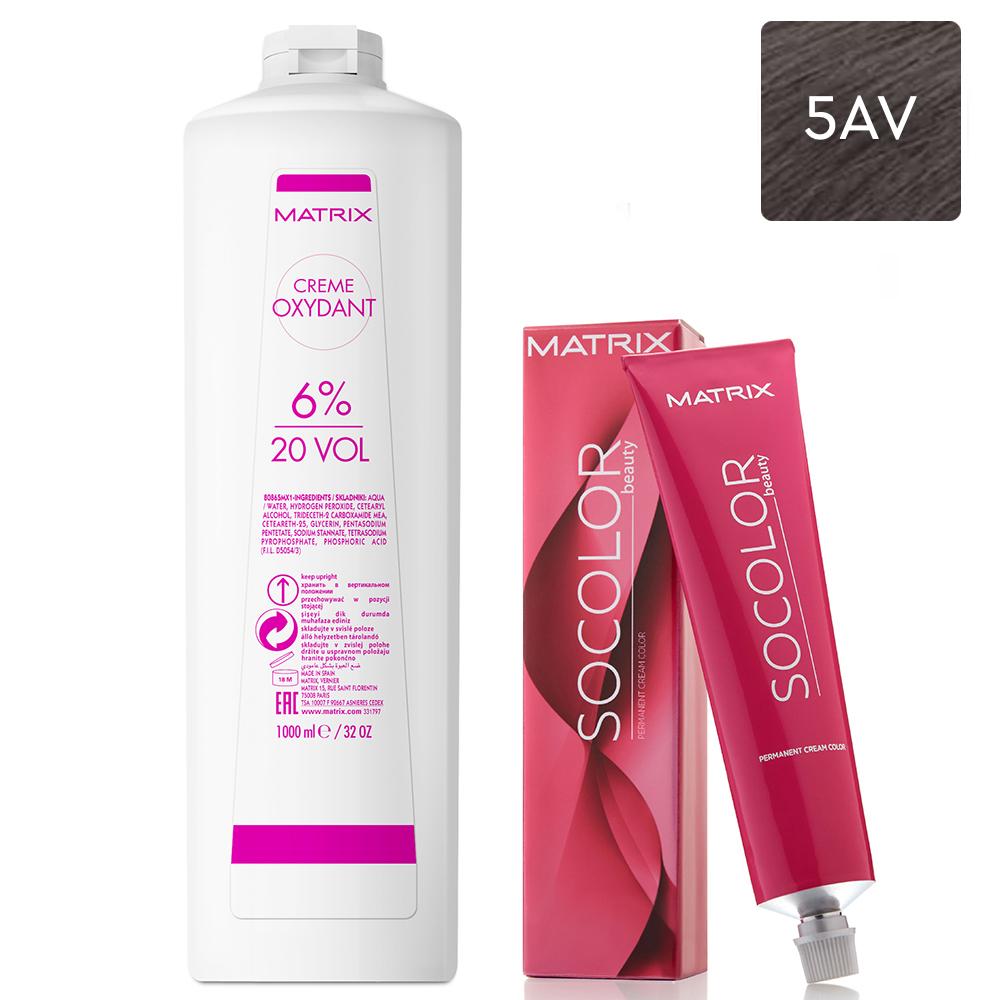 Купить Matrix Набор Перманентный краситель Socolor beauty 5AV, 90 мл + Крем-оксидант 6% (20 Vol.), 1000 мл (Matrix, Окрашивание)