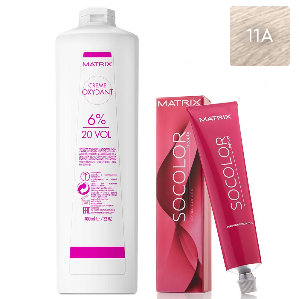 Купить Matrix Набор Перманентный краситель Socolor beauty 11A, 90 мл + Крем-оксидант 6% (20 Vol.), 1000 мл (Matrix, Окрашивание)