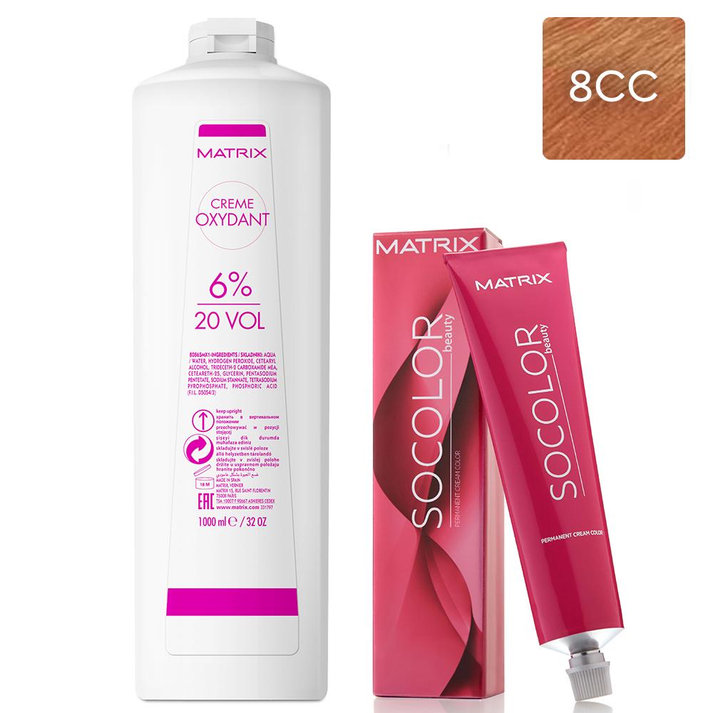 Купить Matrix Набор Перманентный краситель Socolor beauty 8CC, 90 мл + Крем-оксидант 6% (20 Vol.), 1000 мл (Matrix, Окрашивание)
