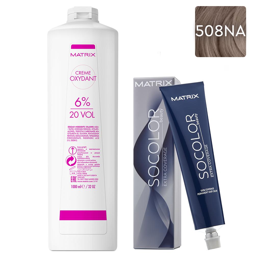 Купить Matrix Набор Стойкая крем-краска для седых волос Extra.Coverage 508NA, 90 мл + Крем-оксидант 6% (20 Vol.), 1000 мл (Matrix, Окрашивание)
