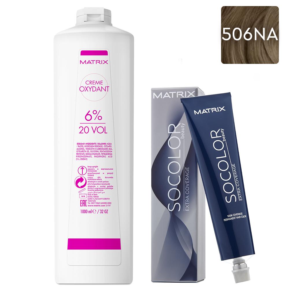 Купить Matrix Набор Стойкая крем-краска для седых волос Extra.Coverage 506NA, 90 мл + Крем-оксидант 6% (20 Vol.), 1000 мл (Matrix, Окрашивание)