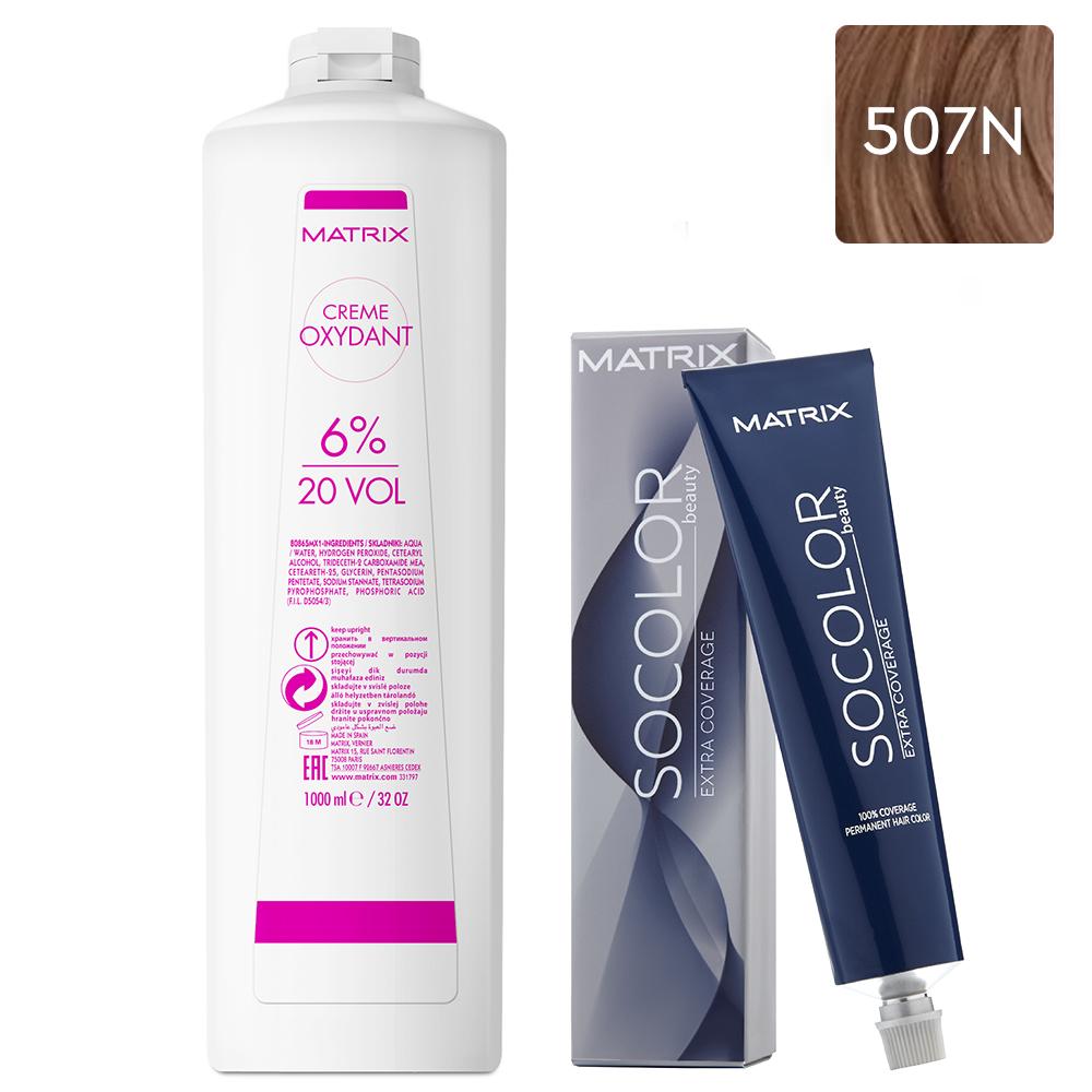 Купить Matrix Набор Стойкая крем-краска для седых волос Extra.Coverage 507N, 90 мл + Крем-оксидант 6% (20 Vol.), 1000 мл (Matrix, Окрашивание)