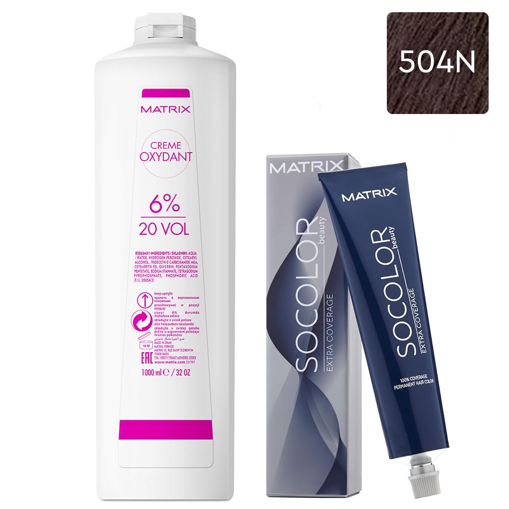 Купить Matrix Набор Стойкая крем-краска для седых волос Extra.Coverage 504N, 90 мл + Крем-оксидант 6% (20 Vol.), 1000 мл (Matrix, Окрашивание)