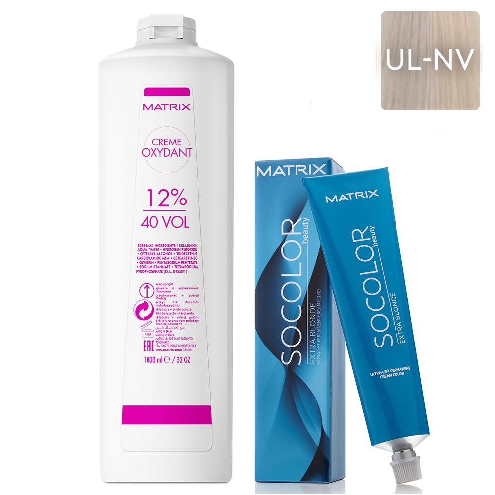 Купить Matrix Набор Крем-краска Socolor beauty UL-NV+, 90 мл + Крем-оксидант 12% (40 Vol.), 1000 мл (Matrix, Окрашивание)