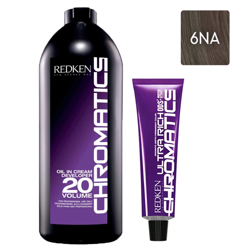 Купить Redken Набор Перманентный красител Chromatics Ultra Rich в оттенке 6NA, 60 мл + Проявитель крем-масло Chromatics 20 Vol [6%], 1000 мл (Redken, Окрашивание)